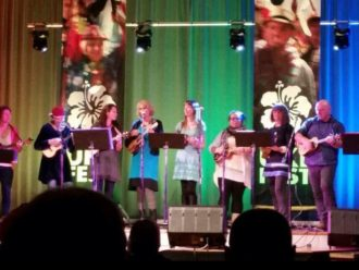 Wanaka Ukuleles on stage at the Geraldine Ukefest
